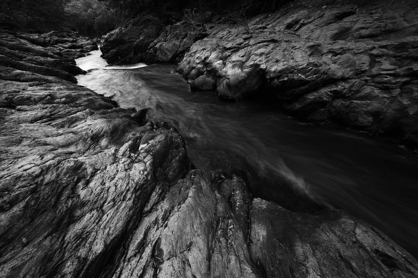 Landscape photography of the waterfall in Thailand. Monochrome Black And White Water Beauty In Nature Land Motion Day Nature Sea No People High Angle View Rock Scenics - Nature Outdoors Rock - Object Sunlight Non-urban Scene Flowing Water