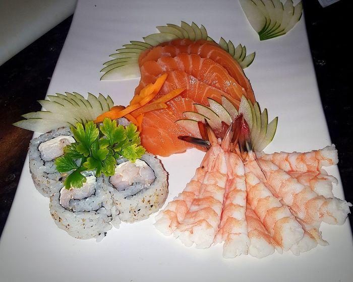 Sushi, sashimi Salmon Sashimi Shrimp! Dinner Food Sashimi Sushi