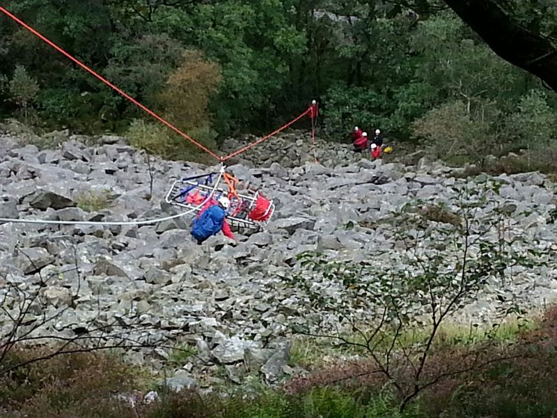 Mountain rescue stretcher lower in the Lake District Lake District Mountain Rescue Climbing