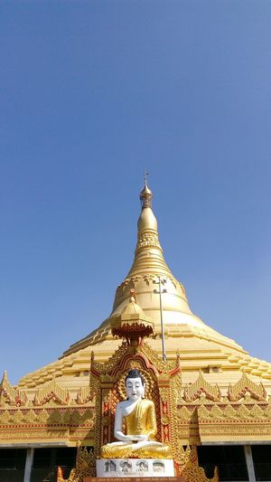 Religion Gold Blue Gold Colored Place Of Worship Architecture Travel Sky Building Exterior Travel Destinations History Clear Sky City Built Structure Global Vipassana Pagoda Indiapictures Outdoors Day Eight Wonders Pagoda India