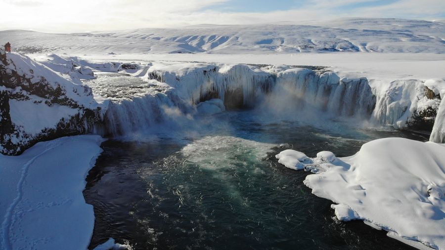 Godafoss waterfall in winter time