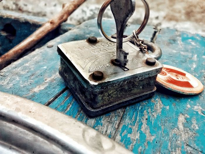 locked out. Metal Iron Lock Key Mobilephotography Color EyeEm Selects Table High Angle View Close-up Rusty Key Ring Old