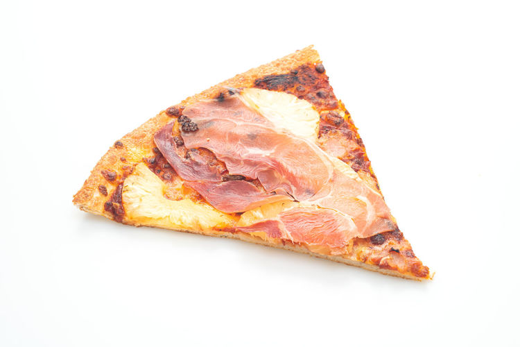 High angle view of pizza on white background