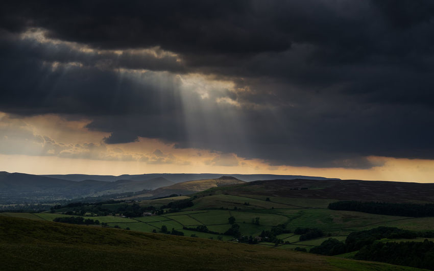Scenic view of storm clouds over land