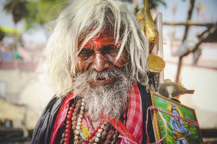 Untitled ! Art Beard Close-up Colour Portrait Day Face Human India Indian Kumbhmela Lifestyles Monk  Outdoors Portrait Sadhu The Portraitist - 2016 EyeEm Awards Ujjain Untitled White Hair Kumbh 2016 Kumbh Mela Shiva Get Up