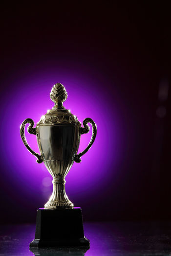 golden trophy on the purple background AWARD Achievement Celebration Champion Contest Effort First Place  Golden Light Shiny Trophy Ceremony Competition Cup Glow Honor Leadership Light Spot Metal Metallic Prize Purple Success Victory Winner
