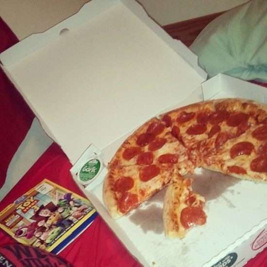 Movie night with the little brother. <3 ToyStory3 Papajohns