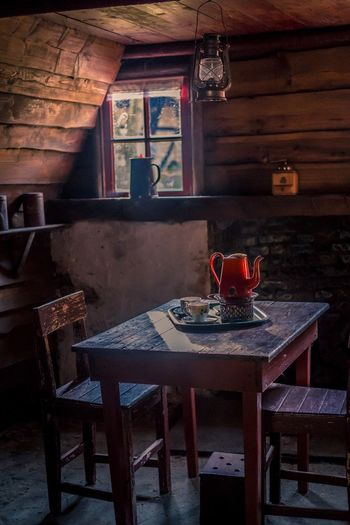 Light of the past Indoors  Wood - Material Table Chair No People Day Vintage Retro Red Color Light And Shadow