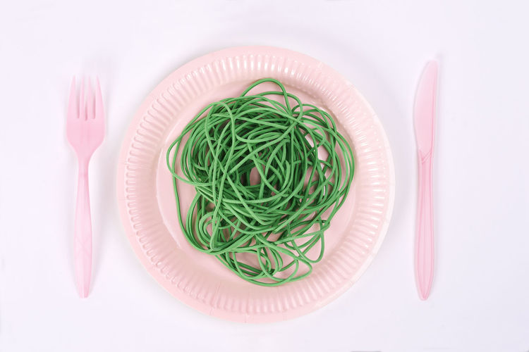 Plastic plate with green rubber bands Place Setting Plastic Plate Plastic Recycling Garbage Pollution Rubber Band Zero Waste Single Use Disposable Biodegradable Environmental Conservation Environment Protection Ecology Eco Crockery Environmental Issues Social Issues Concept Environment Care Earth Protection Global Warming Ecosystem  Environmental Damage Problems Climate Change Plate Knife Fork Disasters Nature Table Studio Shot No People Directly Above