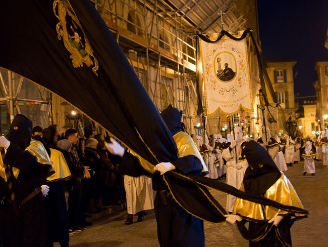The old Good Friday procession in Chieti Abruzzo Banner Catholic Chieti Christian Dead Devotion Easter Festivity Flag Friday Holiday Holy Mountain People Procession Religion Religious  Sacred Sacred Mountain Of The Dead Spirituality Street Symbol Tradition