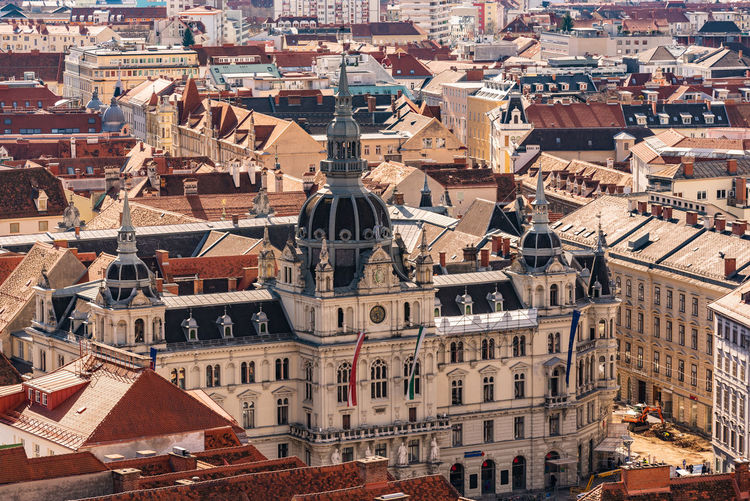 graz with the rathaus town hall and historic buildings, in graz, styria region, austria.