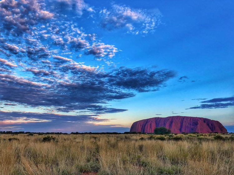 The Rock Dessert Rock Ayers Rock Sky Grass Landscape Cloud - Sky Blue Nature Outdoors Field Beauty In Nature No People