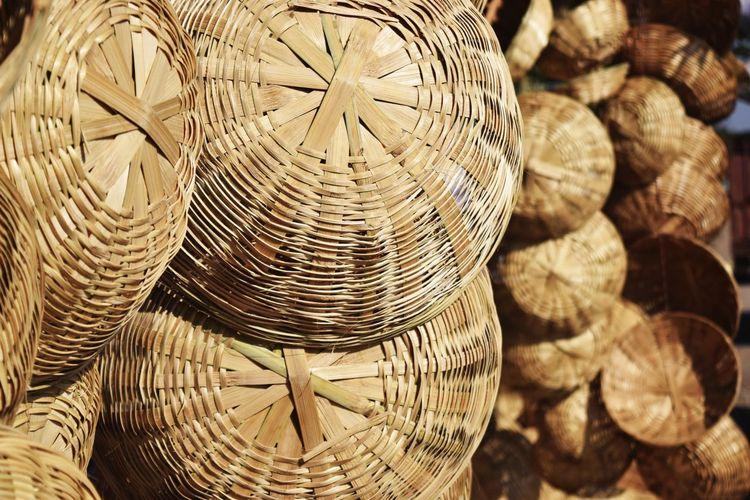 Full frame shot of wicker baskets