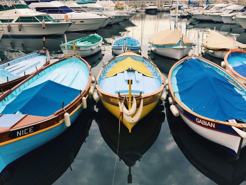 Mediterranean harbor and boats Harbor Harbour Harbour View Harbor View Mediterranean  Mediterranean Life Boat Boats Water Moored No People Reflection Day Outdoors High Angle View Sea Transportation Fishing Fishing Boat Fishing Boats Colorful Colors Nautical Vessel Mediterranean Culture Mediterraneanlife