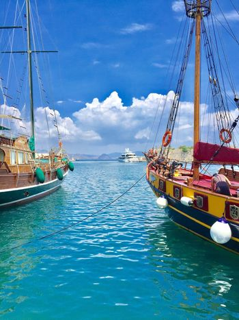 Sea Mode Of Transport Water Nautical Vessel Cloud - Sky Sailboat Blue Ship Harbor Sailing Ship Kos Grichenland