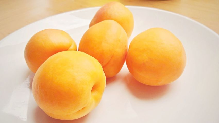 Group of five apricots on a white plate. Apricot Apricots Orange Close-up Food Food And Drink Fresh Freshness Fruit Group Group Of Objects Healthy Healthy Eating Healthy Food No People Orange Color Organic Ripe