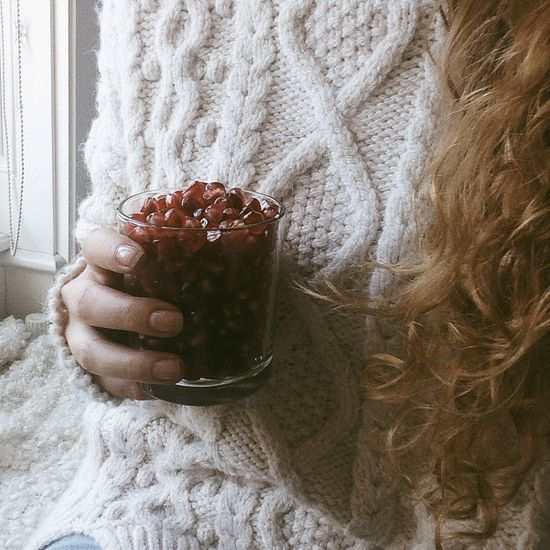 Hanging Out Pomegranate Fruits Fruit Healthy Healthy Food Curly Hair Girl Autumn Snacking Showcase: November