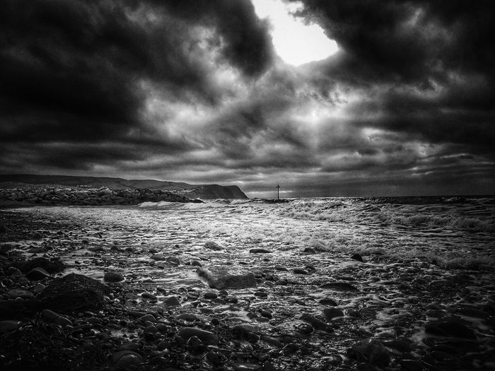 All in the moment... Borth, Wales Borth Beach Seaside Blackandwhite black and white friday Dramatic Sky Welsh Coast Hello Darkness My Old Friend Wales You Beauty Wales Weather Storm Water Sea Storm Cloud Beach Sunset Low Tide Dramatic Sky Sky Horizon Over Water Storm Tide Pebble Beach Atmospheric Mood Coast Overcast Surf