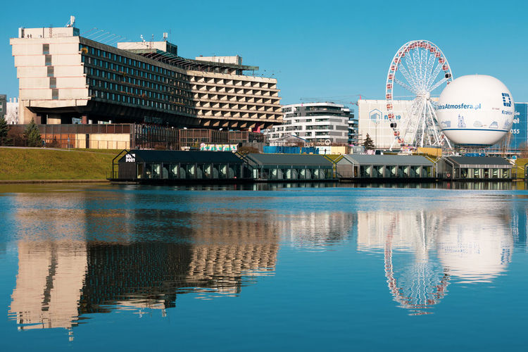 Reflection of ferris wheel in river against buildings in city