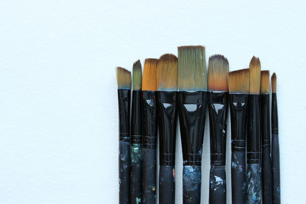 Bristle Art Studio Background Blank Canvas Border Bristles Creativity Frame Materials Messy Mock Up Natural Hair Open Space Paintbrushes Painting Studio Shot Styled Supplies The Arts Tools Top View Watercolor Paper