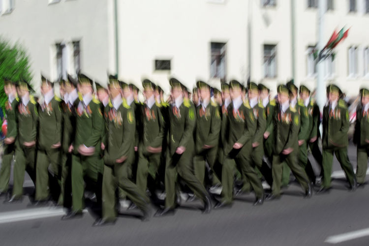 Belarus Ussr Russia Real People Men Clothing Outdoors Day War World War 2 Military Military Parade Military Uniform Group Of People In A Row Uniform Large Group Of People Armed Forces Celebration Large Group Of Objects Government