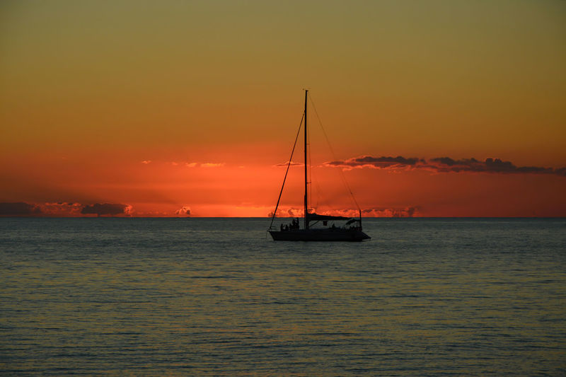 Sunset Sky Water Nautical Vessel Sea Transportation Scenics - Nature Beauty In Nature Waterfront Orange Color Sailboat Horizon Horizon Over Water Idyllic Nature Sailing Outdoors Romantic Sky A New Perspective On Life Capture Tomorrow