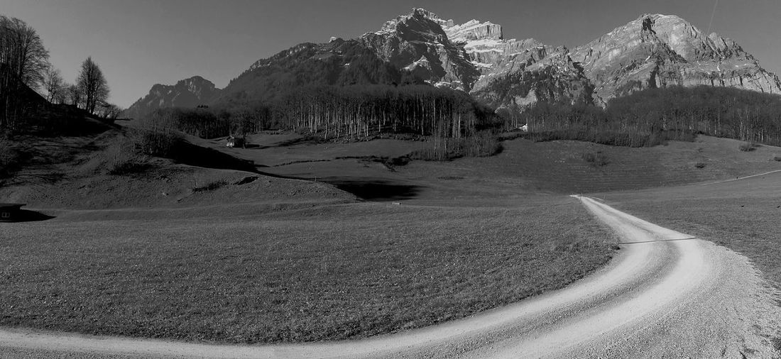 Mountains And Sky Schwanden Alps Switzerland Road To Nowhere Life No People Sky Outdoors Beauty In Nature Landscape Panorama Tranquility Beautiful Day The Purist (no Edit, No Filter) The Week Of Eyeem Tadaa Community Photography EyeEm Best Shots Black And White Collection  Bnw Telling Stories Differently Mountain Range The Week On EyeEem Mountain View Glaner Alps Enjoy The New Normal Live For The Story The Great Outdoors - 2017 EyeEm Awards The Street Photographer - 2017 EyeEm Awards EyeEm Selects EyeEmNewHere Lost In The Landscape Done That. Connected By Travel Been There. Business Stories An Eye For Travel Mobility In Mega Cities Colour Your Horizn HUAWEI Photo Award: After Dark My Best Travel Photo