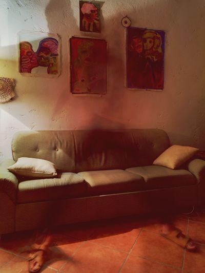 Full frame shot of sofa