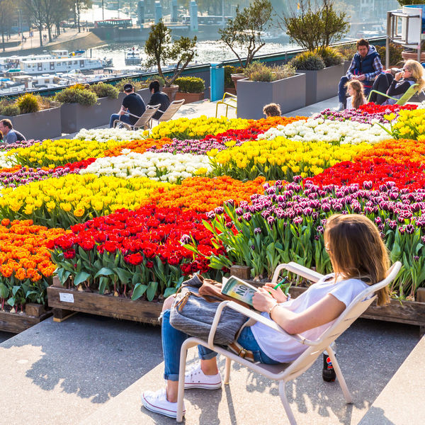 Relaxing in Amsterdam Amsterdam Casual Clothing City Life Flower Freshness Leisure Activity Lifestyle Lifestyle Photography Lifestyles Multi Colored Nemo Museum Relaxation Standing Tulips Young Women Your Amsterdam