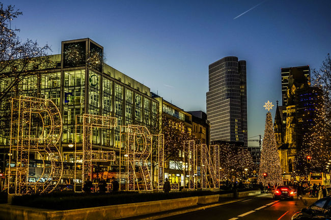 Christmas in Berlin Architecture Berlin Blue Building Exterior Built Structure Christmas City City Clear Sky December Germany Illuminated Lights Market Night Noël Outdoors Sky Skyscraper Tauentzienstrasse Tree