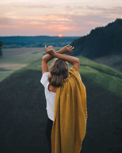 Last sunset before winter One Person Real People Women Rear View Leisure Activity Sky Lifestyles Landscape Outdoors Nature Scenics - Nature Cloud - Sky Adult Water Land Standing Waist Up Day Clothing