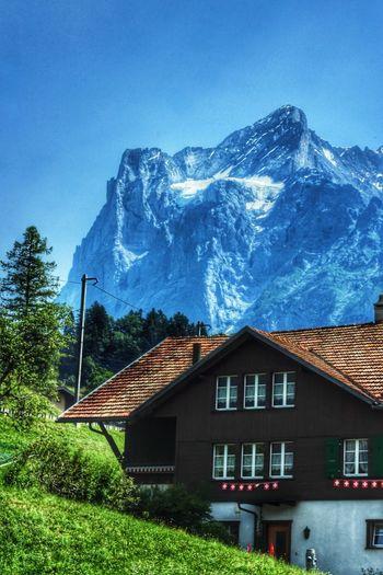 Houses against mountain range