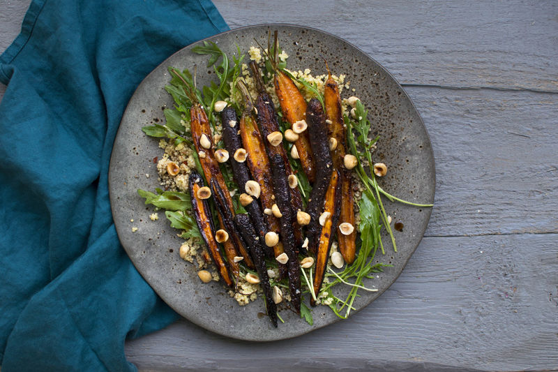 Oven Roasted Carrots BBQ Lunch Nuts Oven Quinoa Salad Baked Carrot Colorful Coucous Eastern Food Healthy Eating Healthy Food Healthy Lifestyle Kitchen Millet Plate Roast Table Vee Vegan Vegetable