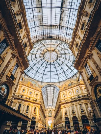 Galleria Vittorio Emanuele II EyeEm Selects Architecture Ceiling Built Structure Indoors  Low Angle View Pattern Dome Shopping Mall Travel Destinations Ornate Arch Day No People Architecture And Art Directly Below Tourism Glass - Material Design Skylight Luxury