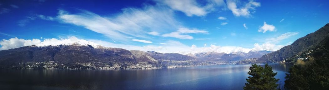 Panorama Como Lake Lario Italy Ferry Ferryboat Lakeside Varenna Dervio Domaso Alpi Alps Lago Di Como EyeEm Selects Water Tree Mountain Snow Lake Blue Forest Winter Pinaceae Pine Tree Freshwater