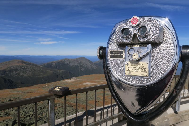EyeEm Best Shots EyeEm Nature Lover EyeEmNewHere Mount Washington  On Top Of A Mountain Blue Sky Blue Sky With Clouds Close-up Coin-operated Binoculars Day Landscape Metal Mount Washington State Park Mountain Nature New Hampshire No People Outdoors Railing Scenics Sky Text Unfiltered White Mountain