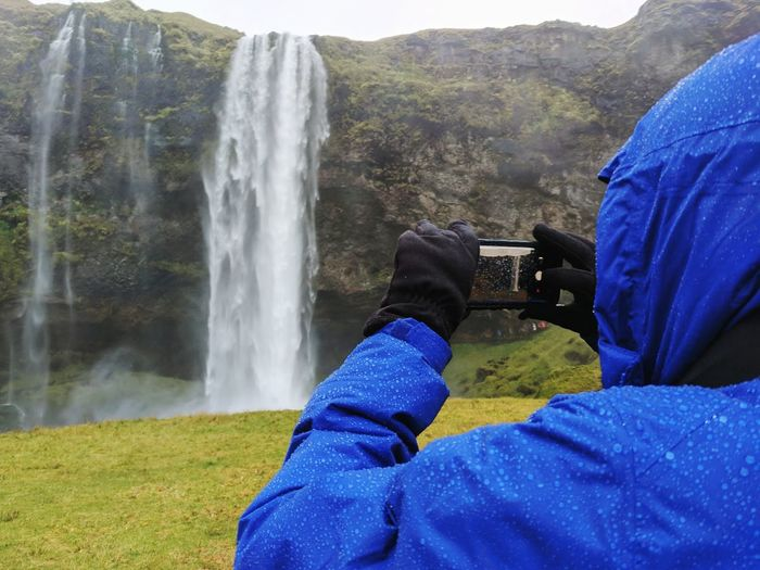Weather Climate Iceland Waterfall Icelandic Landscape Rain Waterproof Mobile Photography