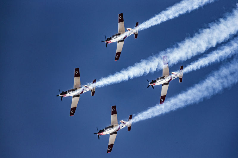 Aerobatic, Team, Flying, Aircraft, Vintage AerobaticTeam Airshow Airshow Aviation Beechcraft Blue Blue Sky Clear Sky Day Flying Formation Flying IAF Ii Independence Day Israel Israeli Air Force Low Angle View Mid-air Mode Of Transport Sky Smoke T-6 Texan Teamwork Transportation