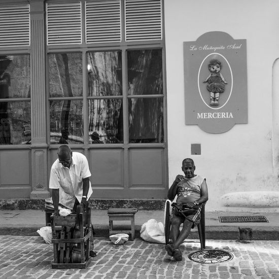 Architecture Building Exterior Cuba Day Full Length La Habana Lifestyles Men Music Musician Outdoors Real People Sitting Two People