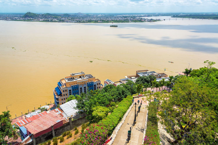 High angle view of footpath by guayas river from santa ana hill