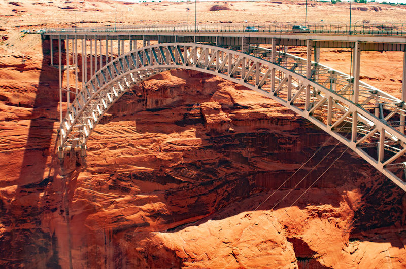 The spectacular arch bridge adjacent to the glen canyon dam, arizona, in the land of the navajo, usa