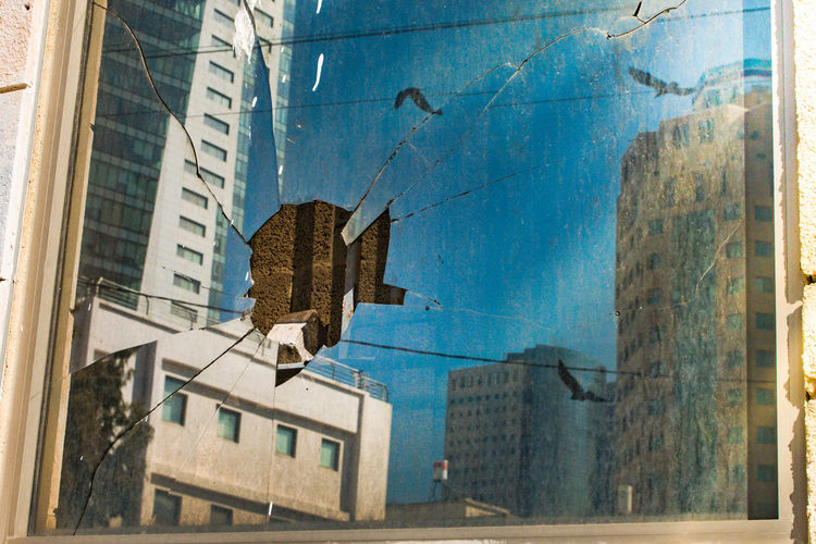 Architecture Birds Blue Broken Broken Glass Building Exterior City Day Exterior Outdoors Sky