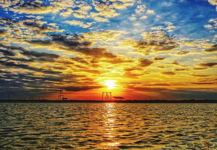 Water Sea Sunset Beach Sun Reflection Silhouette Sunlight Idyllic Sky