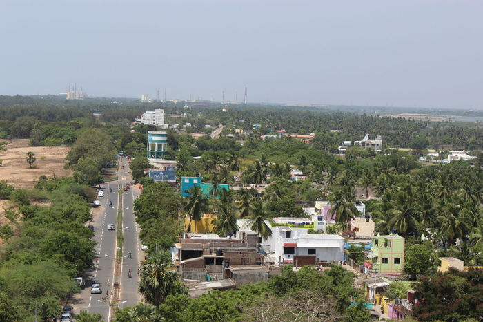 Car City Clear Sky Day Dramatic Angles High Angle View Horizon India Rameshwaram Road Tree