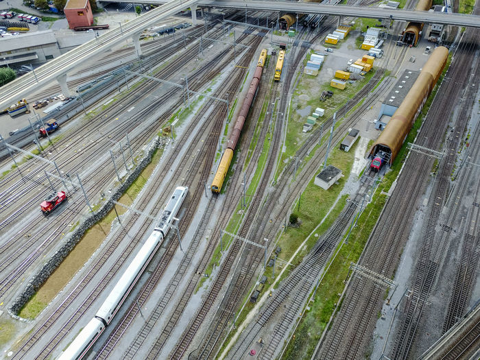 High angle view of trains on railroad track
