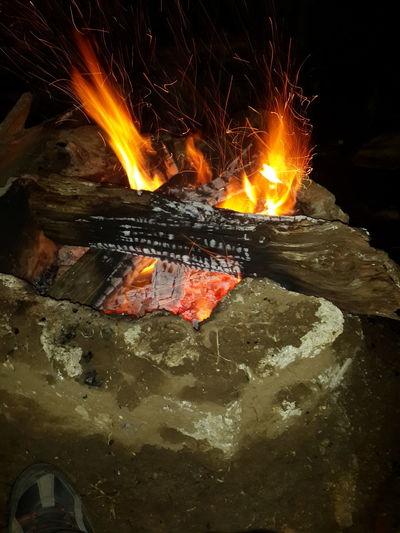 Overnight Success Fire Camping Campfire Wood - Material Heat - Temperature Burning Close-up No People San Cristóbal De Las Casas, Chiapas.