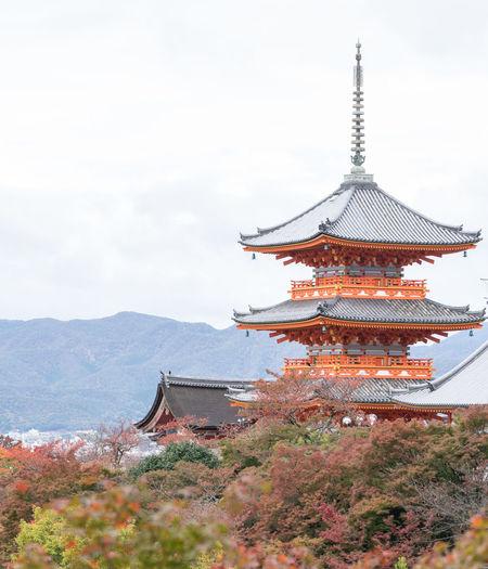 View of kiyomizu-dera temple during autumn
