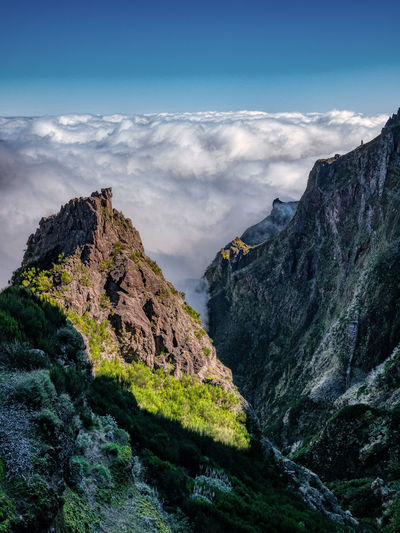 Mountains in the clouds. madeira island.