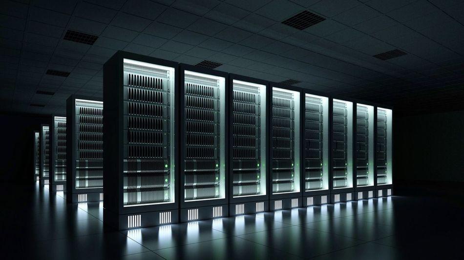 Dark data center with server racks Data Center Rack Server Computing Cloud Hosting Server Indoors  Network Server No People Technology Architecture Built Structure