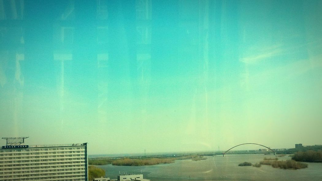 Вид на Бугринский мост с речного вокзала Nsk Pier Novosibirsk Bridge